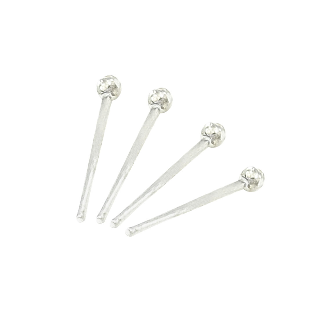 Silver Tone 2mm Diameter Metal Ball Stud Earrings Pierced Style Ear Pin 2 Pair