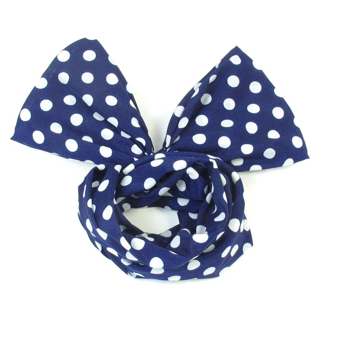 Women White Dots Print Navy Blue Fabric Wrapped Metal Wire Hair Accent Headband