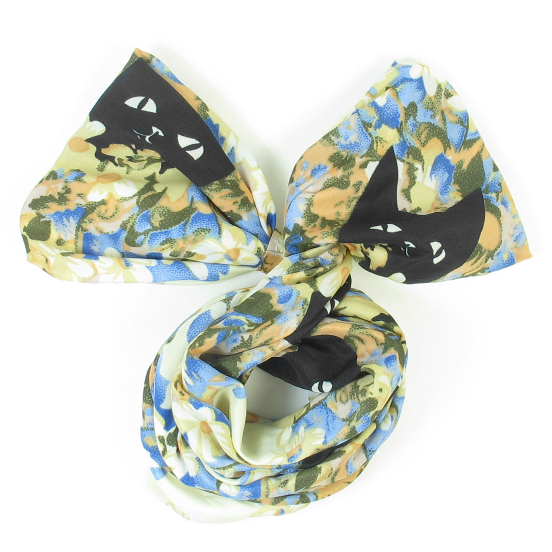 Lady Colored Floral Cat Head Pattern Both Ends Bowknot Hair Scarf Head Band