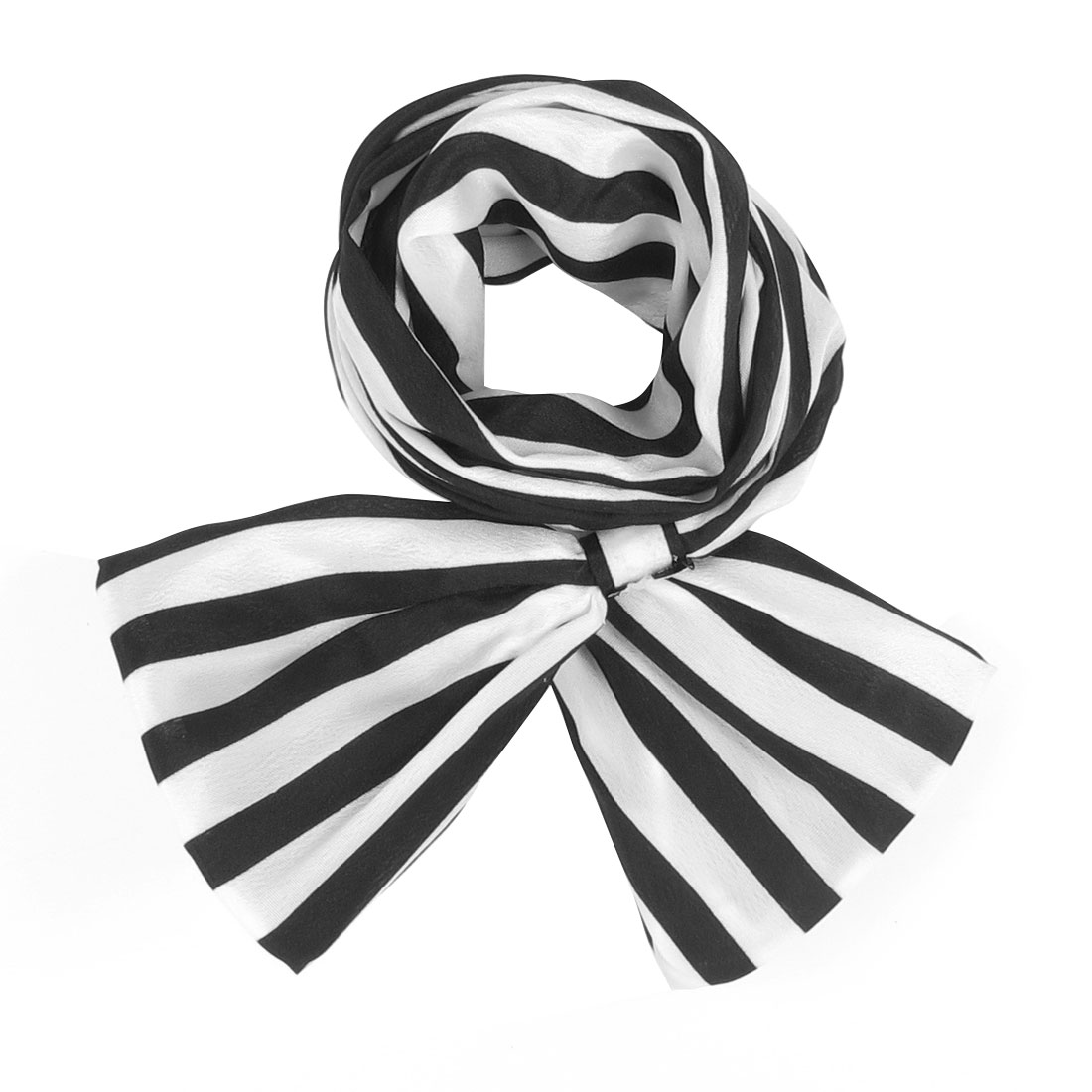 Ladies Fabric Wrapped Metal Wire Inside Hair Decoration Hair Scarf Black White