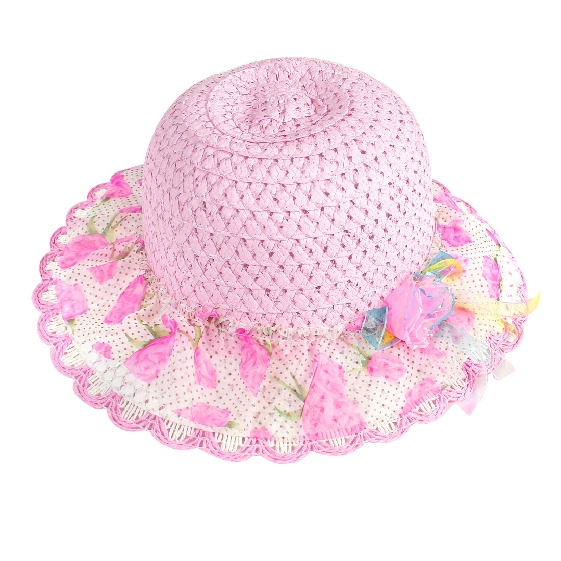Children Girl Pink White Chiffon Rose Flowers Print Straw Wave Brim Bucket Cap Hat