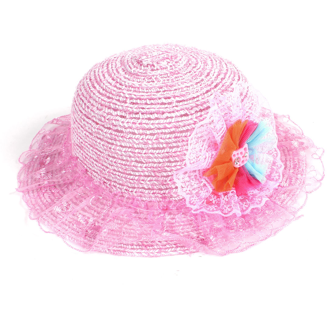 Pink Embroidered Floral Organza Decor Wide Brim Hat Cap for Children Girl