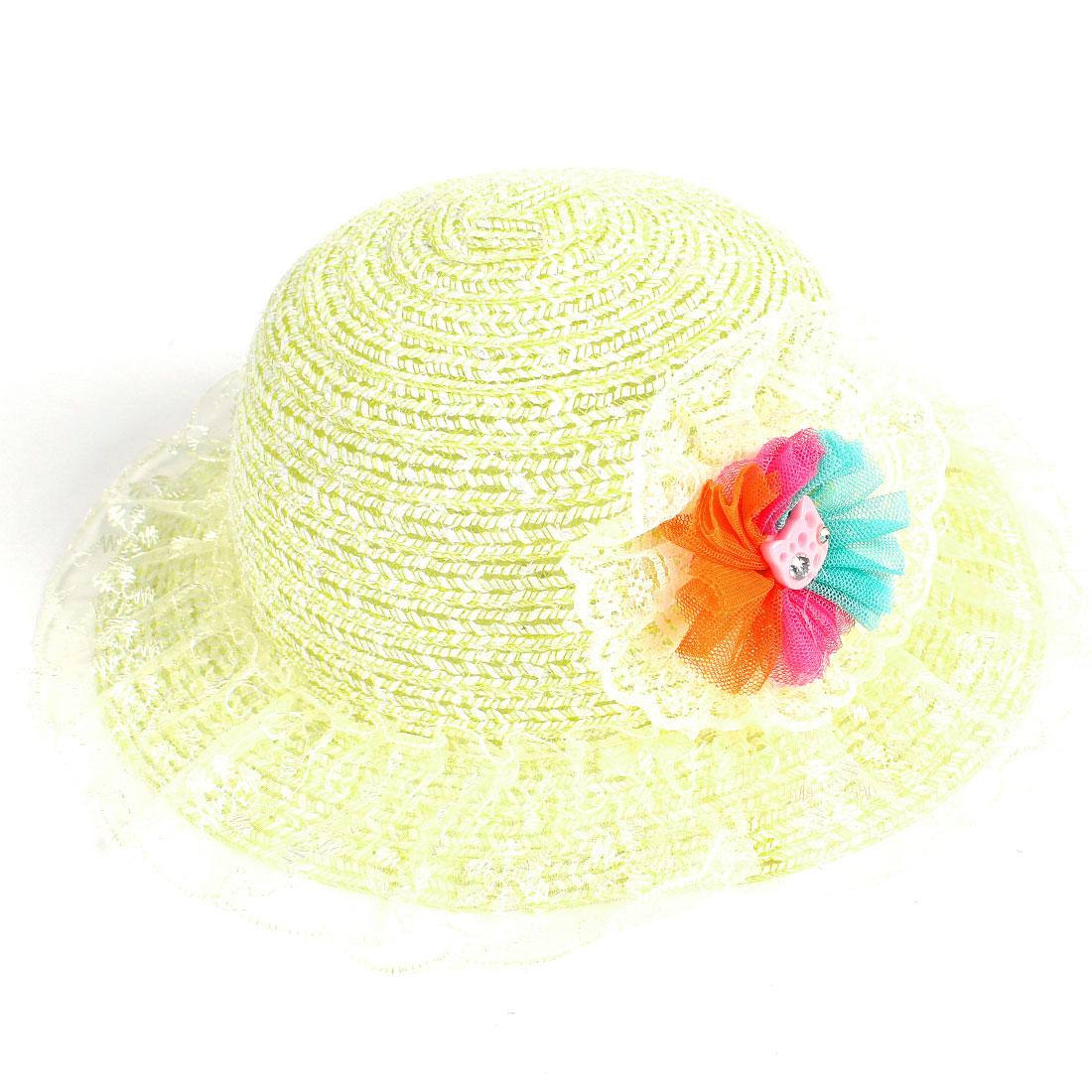 Kid Girl Yellow Lace Flower Rhinestone Detail Wide Brim Summer Beach Cap Hat