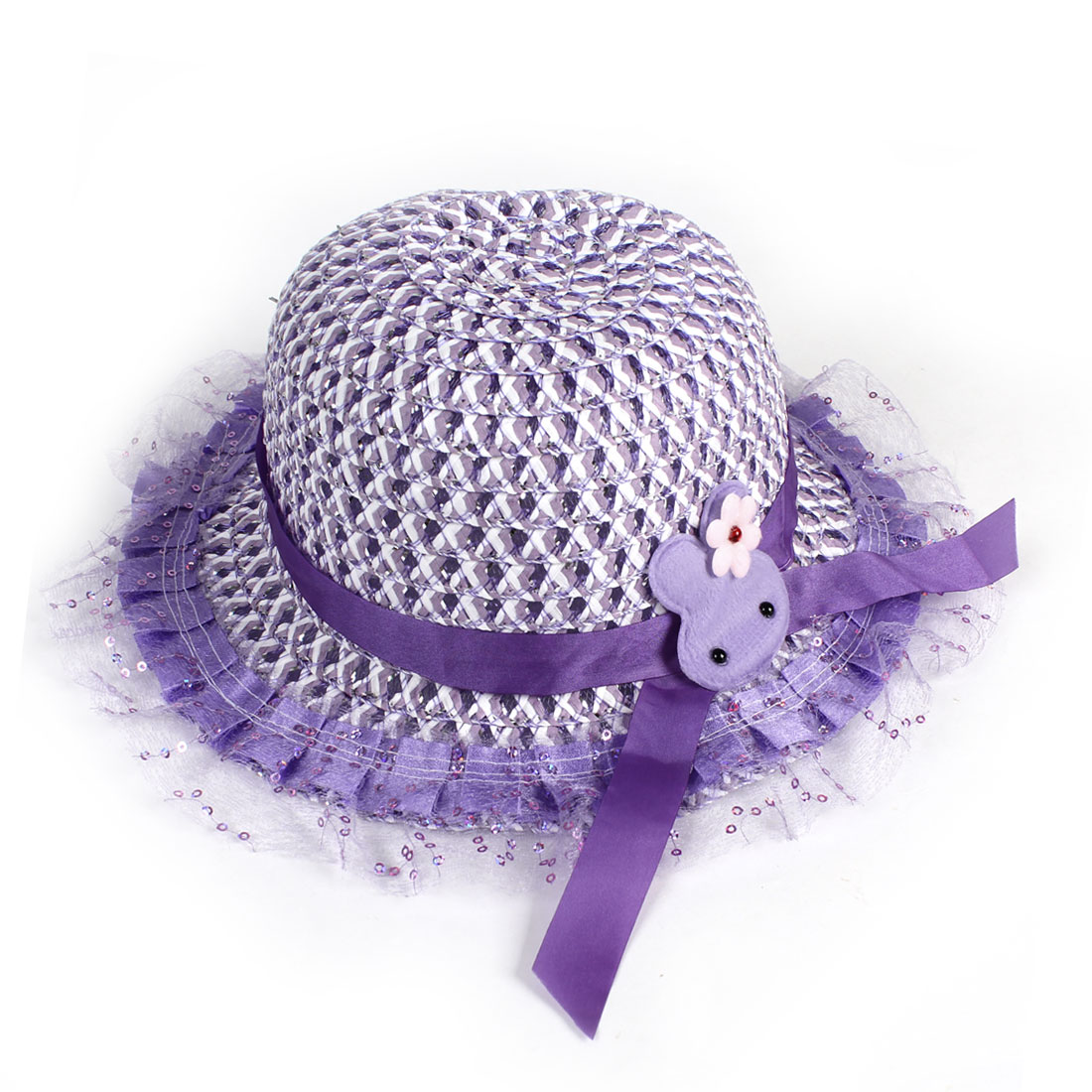 Child Girl Glitter Sequins Decor Mesh Brim Braided Straw Bucket Hat Cap Light Purple