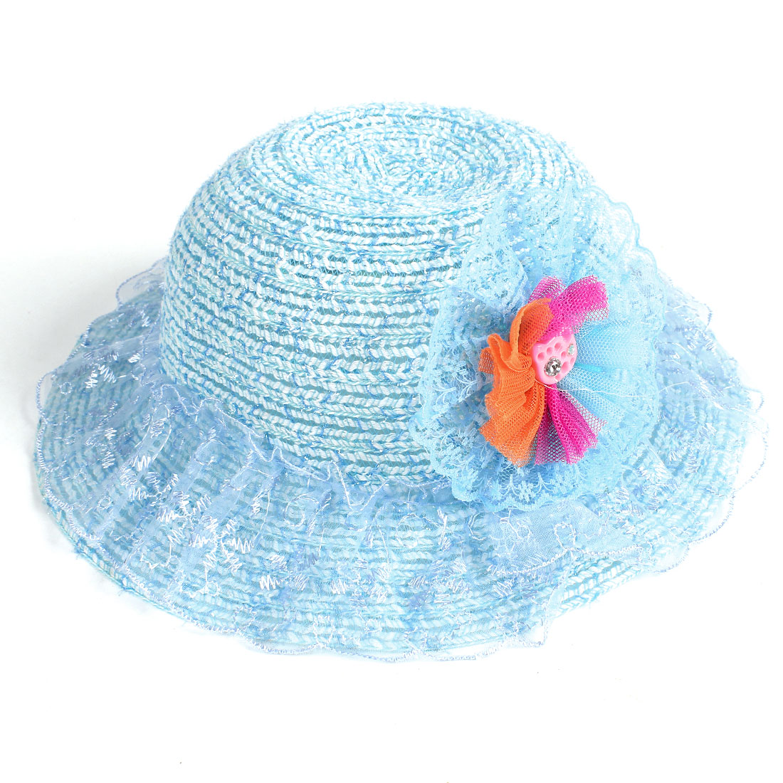 Girl Child Colored Meshy Flower Rhinestone Accent Light Blue Wide Brim Visor Hat Cap
