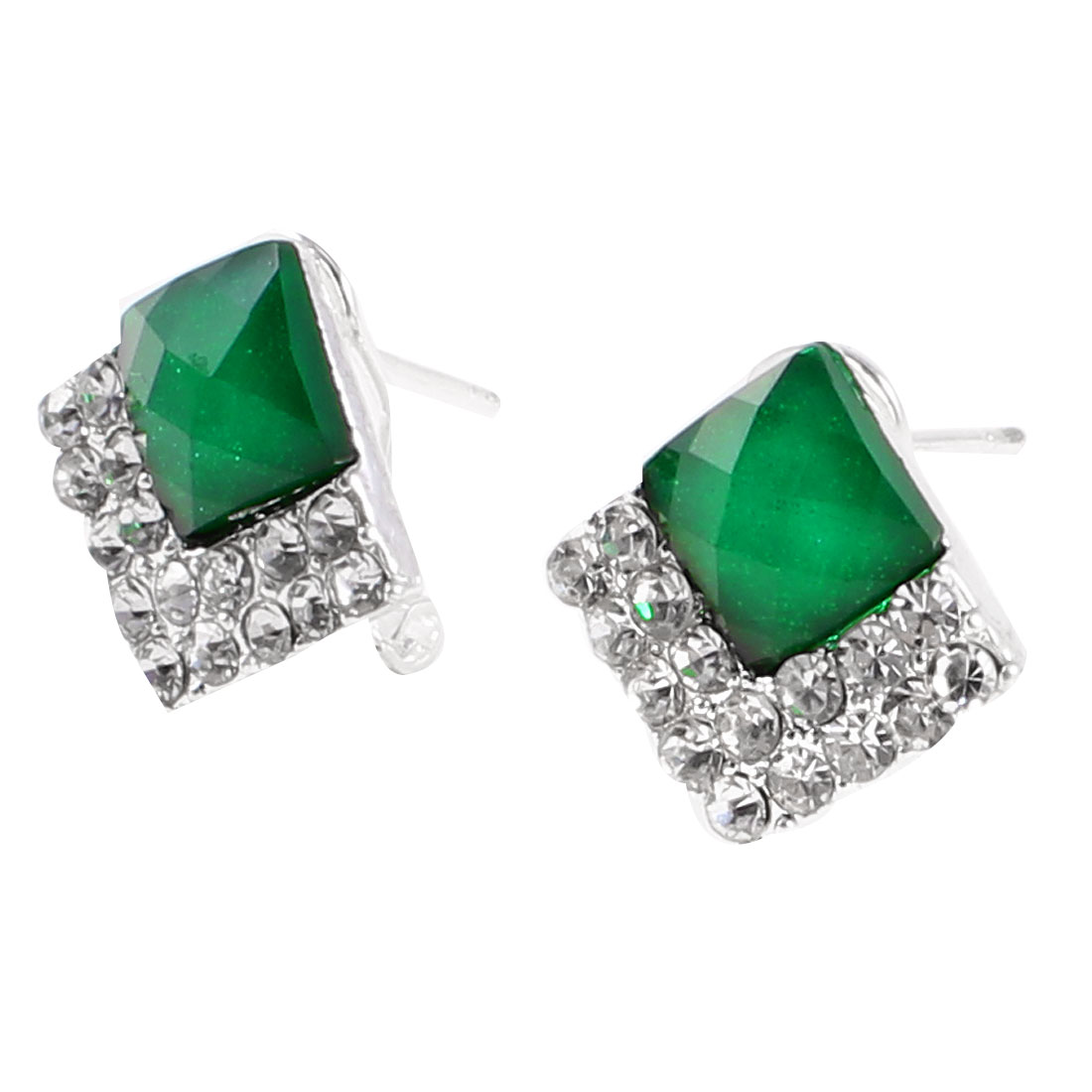 Pair Silver Tone Green Square Beads Detail Mini Clip Earrings Stud for Lady
