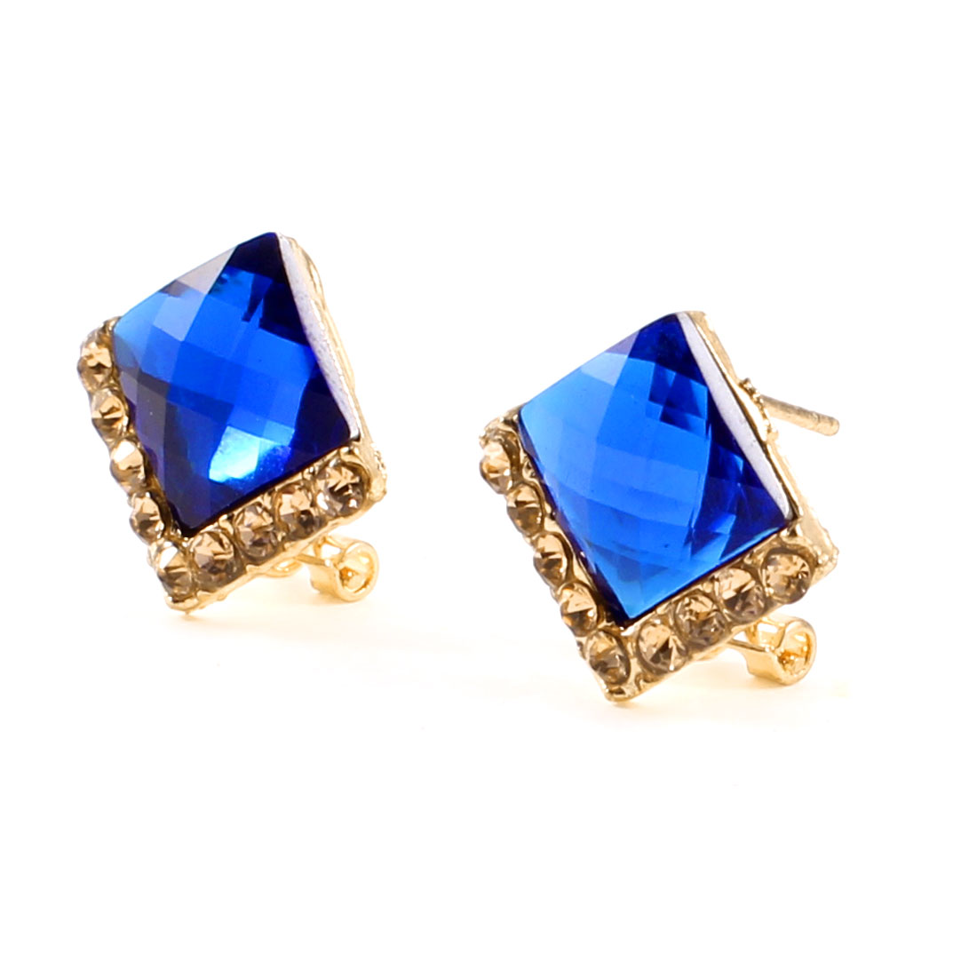 Ladies Gold Tone Blue Square Plastic Beads Decor Clip Earrings Stud Pair