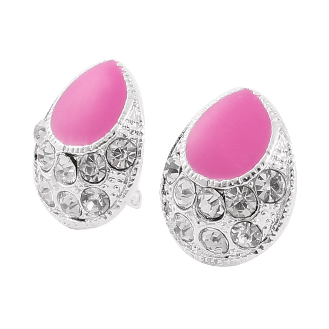 Woman Rhinestones Detail Silver Tone Pink French Clip Earrings Stud Pair