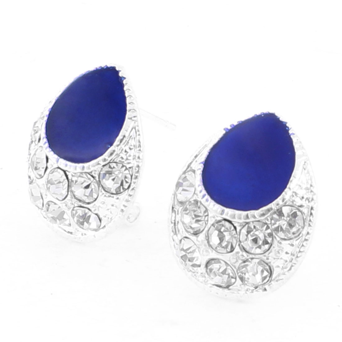 Lady Royal Blue Teardrop Beads Rhinestones Decor French Clip Earrings Stud Pair