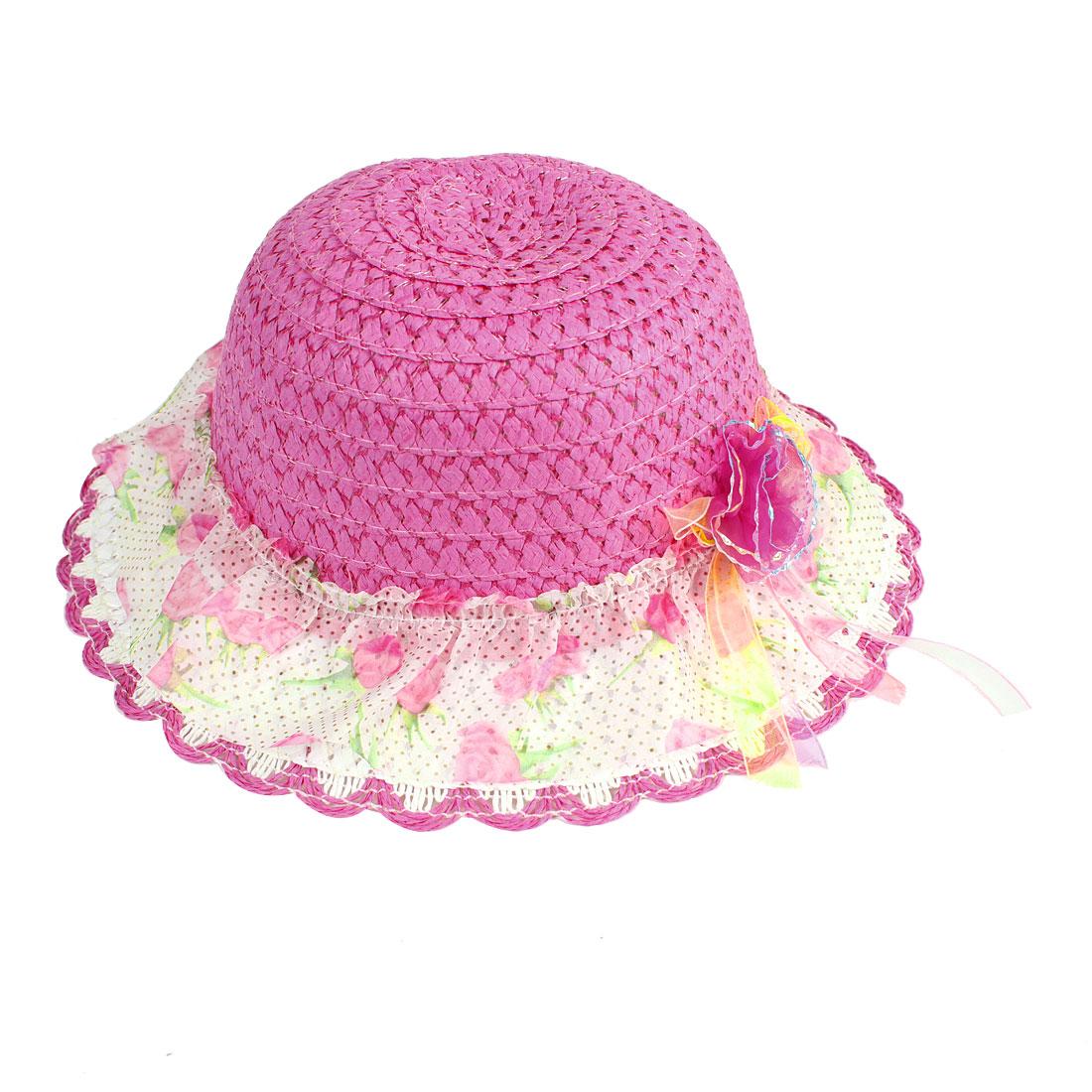 Kid Girl Flower Decor Braided Straw Wave Brim Summer Beach Bucket Hat Cap Fuchsia