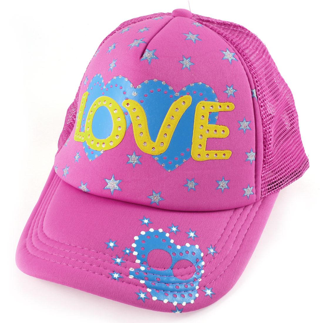 Ladies Blue Fuchsia Pentagram Pattern Adjustable Mesh Back Sports Sun Visor Cap Hat