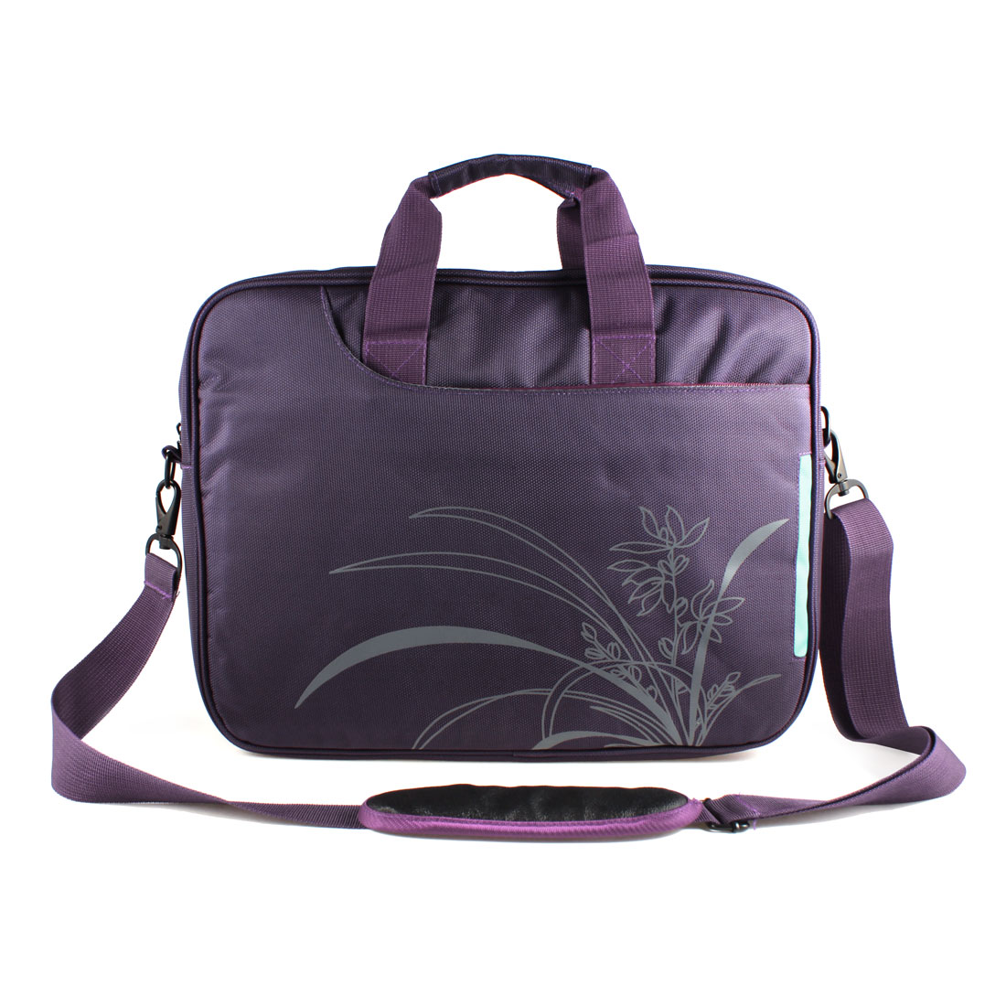 "14"" 14.1"" 14.4"" Purple Gray Canvas Floral Shoulder Handle Notebook Laptop Bag for HP Acer"