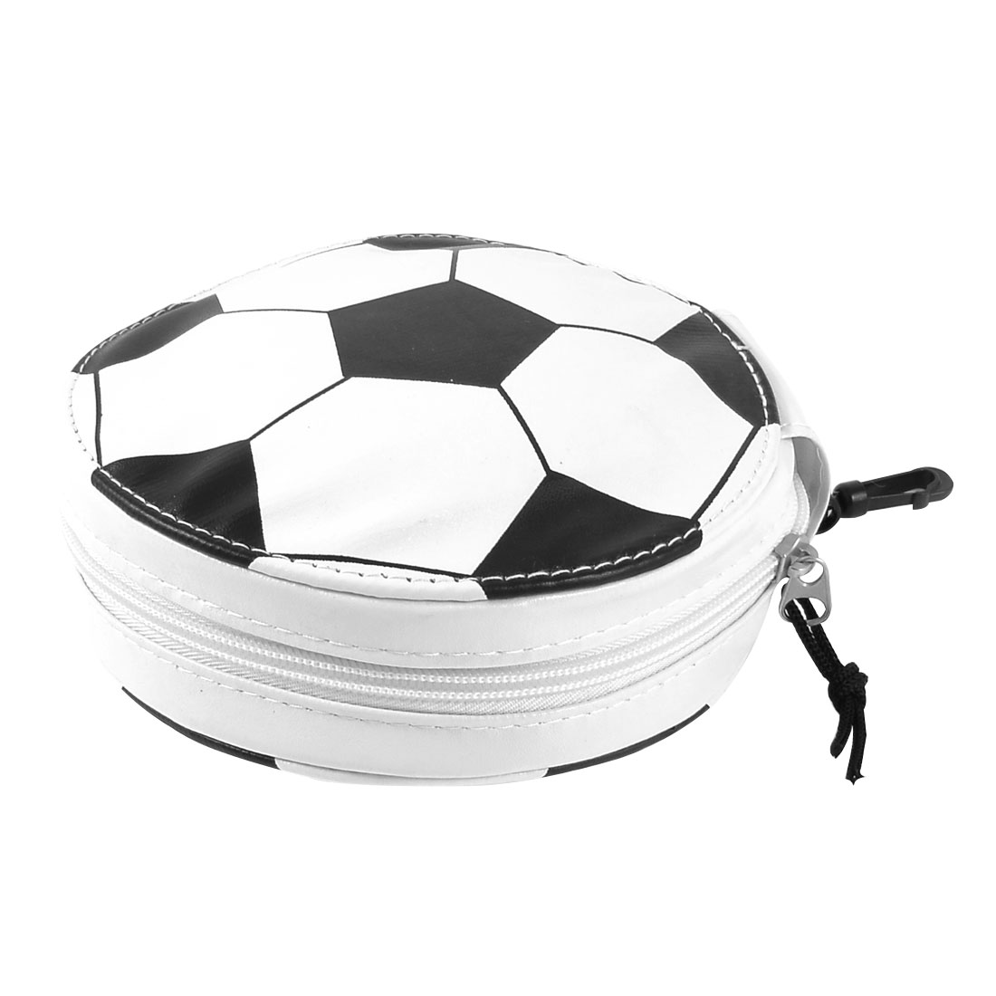 Faux Leather White Black Football Pattern 24PCS CD DVD Disc Bag Holder Organizer