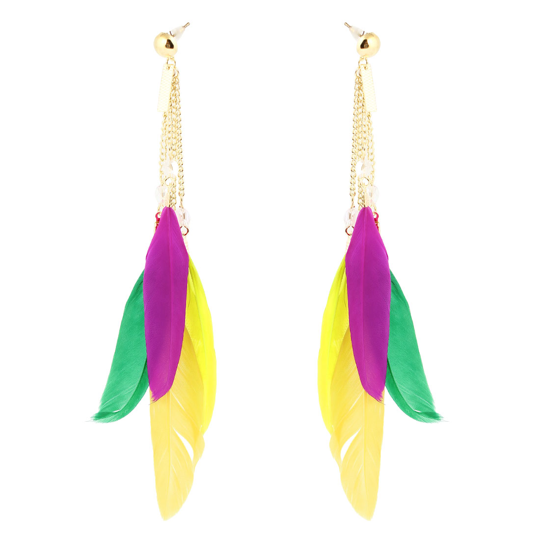 Ladies Multicolor Feather Beads Detail Pendant Dangling Earring Eardrop Pair