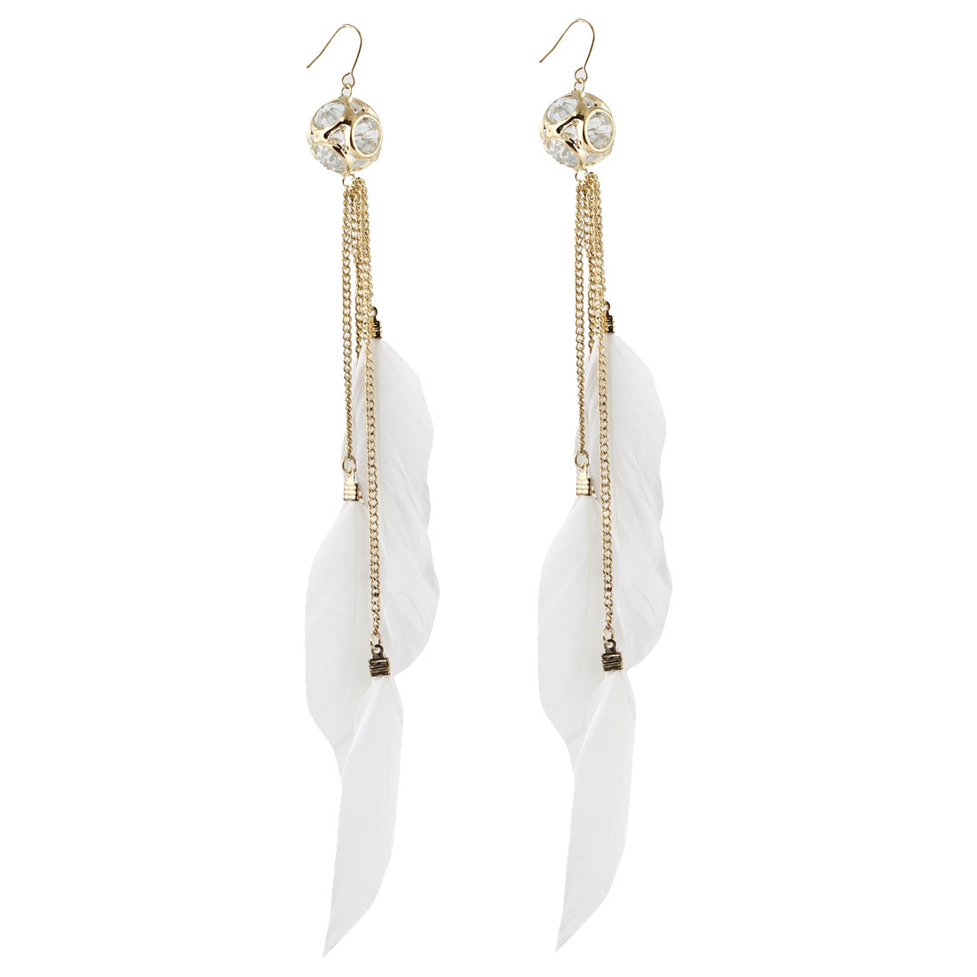 Pair Chain Connect White Feather Pendant Fish Hook Eardrop for Lady