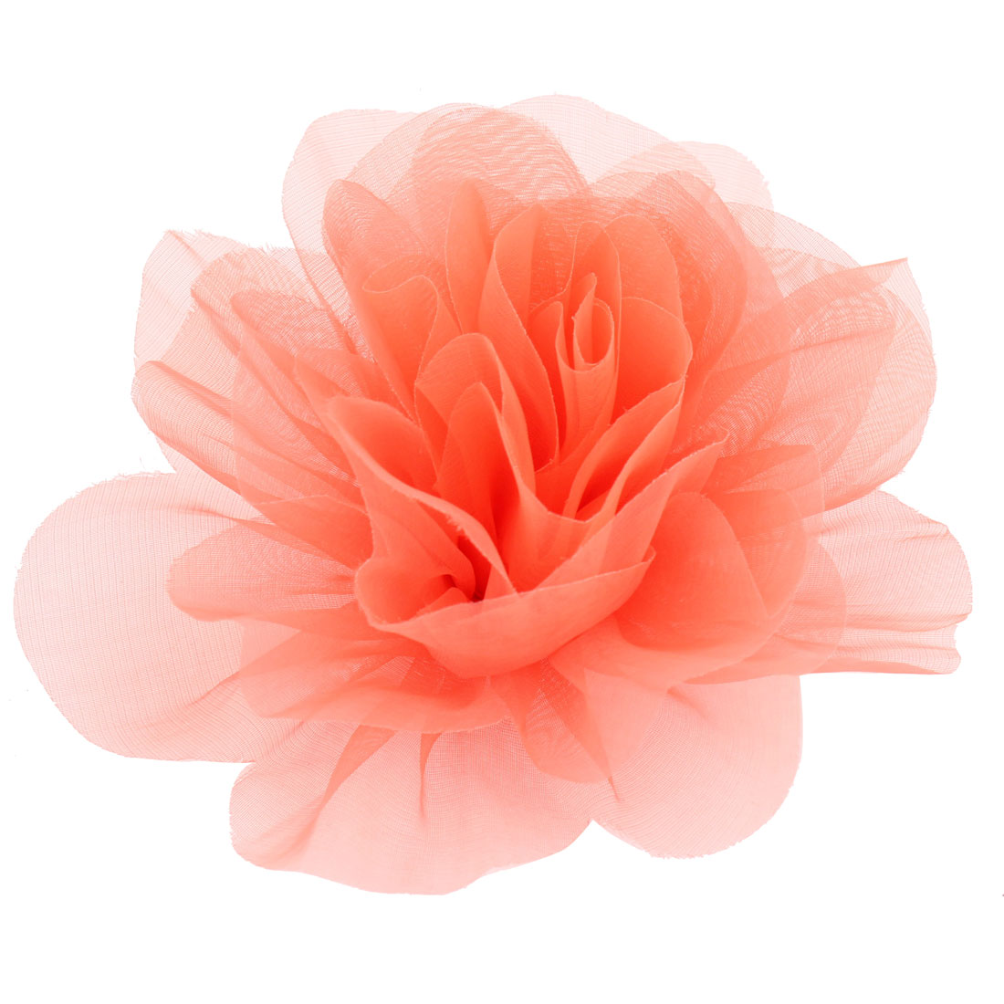 Evening Salmon Pink Organza Flower Design Corsage Brooch Pin for Woman