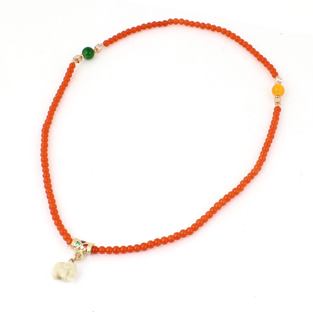 Girls Elephant Decor Plastic Beads Stretchy Necklace Ring Bracelet Orange Red