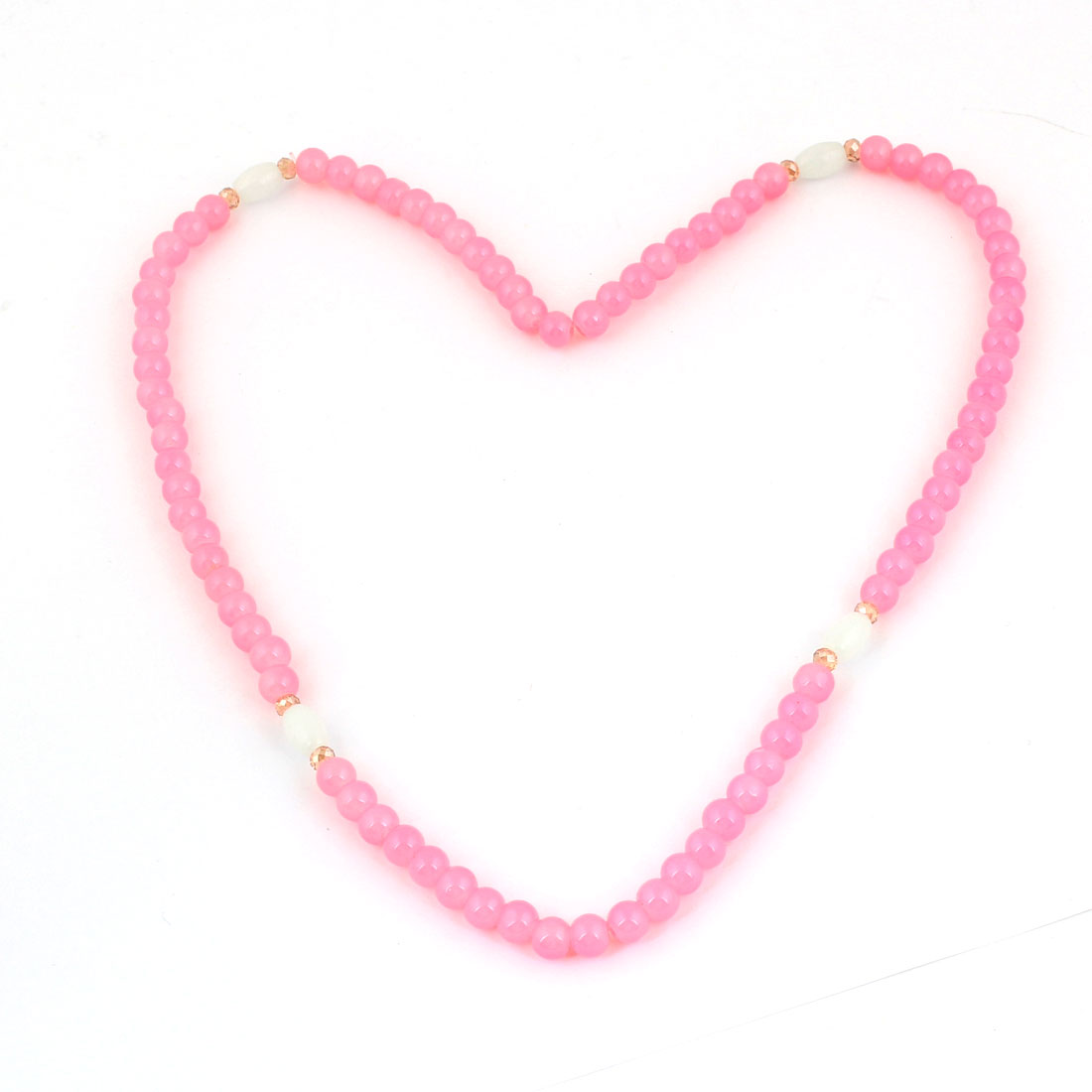 Plastic Pink White Beads Detailing Pendant Bracelet Ring Necklace for Girls