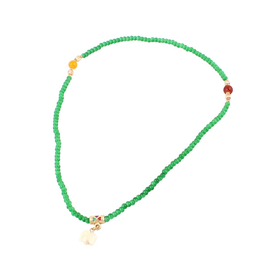 Green Beads Elephant Detailing Pendant Bracelet Ring Necklace for Girls