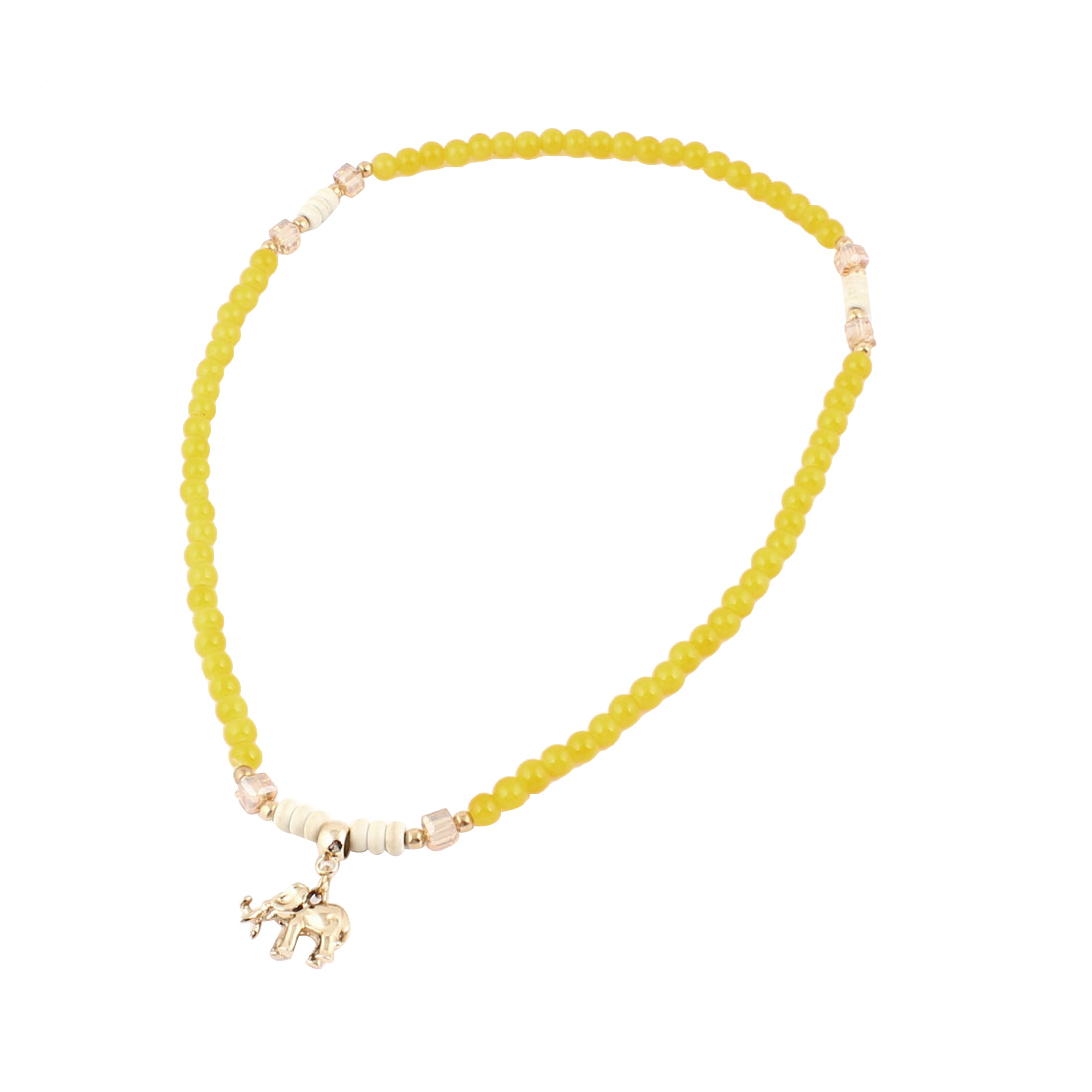 Girls Elephant Decor Plastic Beads Stretchy Necklace Ring Bracelet Yellow