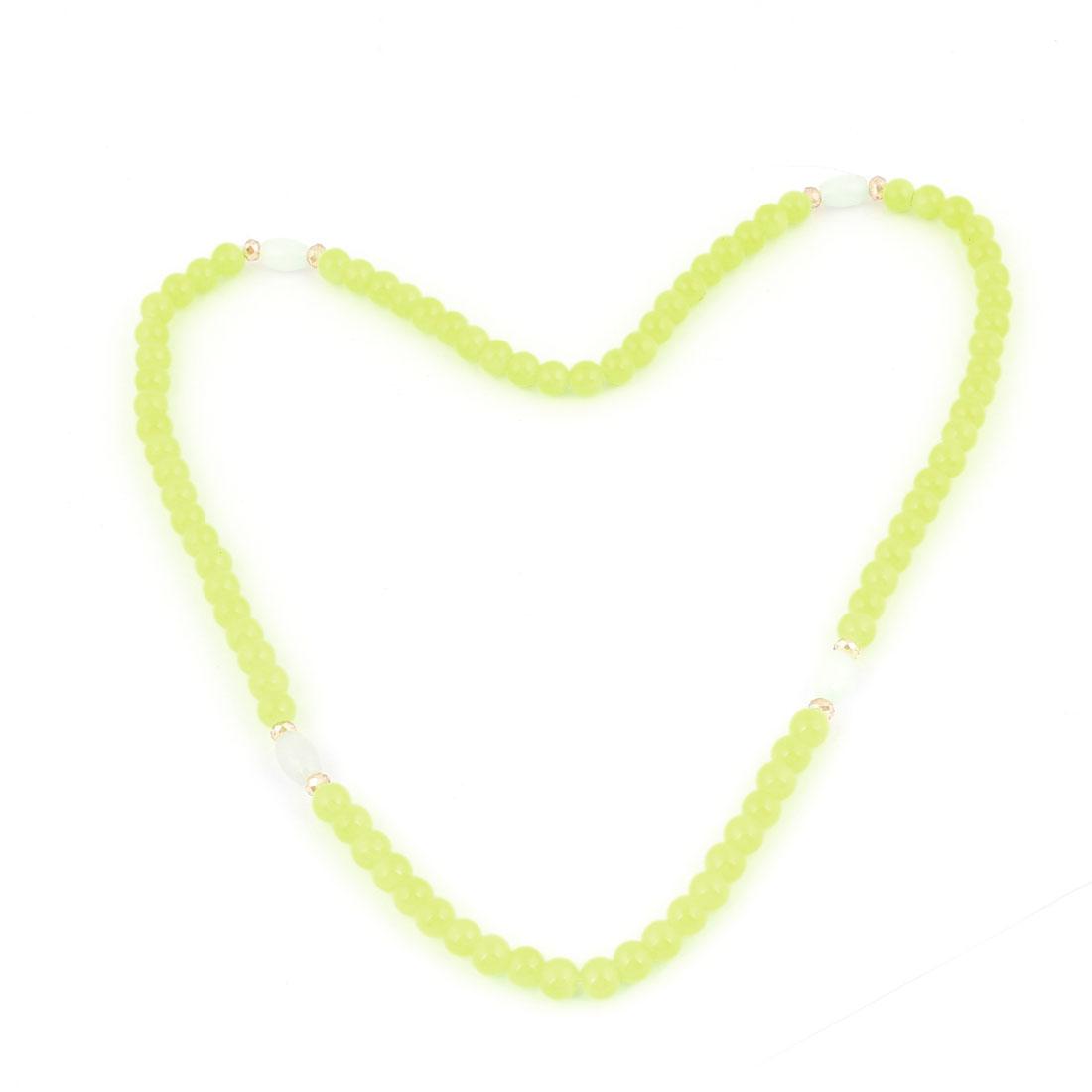 Girl Yellow Green Plastic Detailing Pendant Elastic Necklace Ring Bracelet