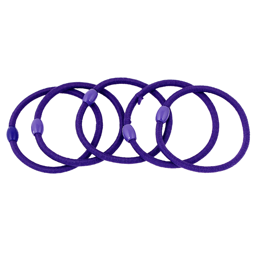 5 Pcs Purple Oval Beads Ponytail Holders Stretchy Hair Tie