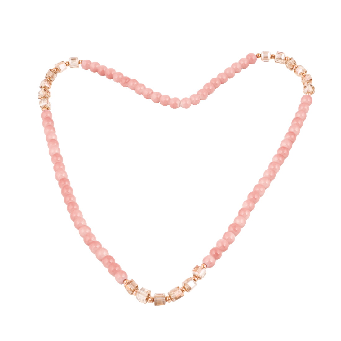 Pink Beads Plastic Crystal Detail Pendant Bracelet Ring Necklace for Girls