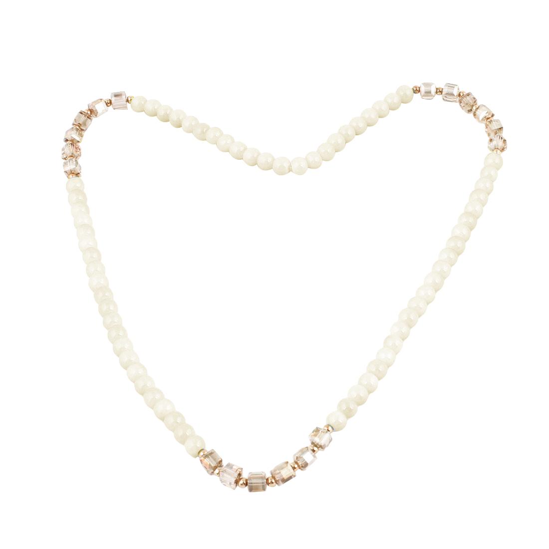 Girls Plastic Crystal Detail Pendant White Plastic Elastic Necklace Ring Bracelet