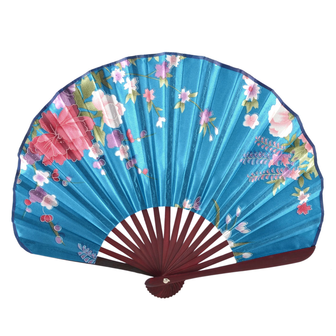 Pink Red Flower Print Blue Fabric Cloth Bamboo Frame Folded Fan
