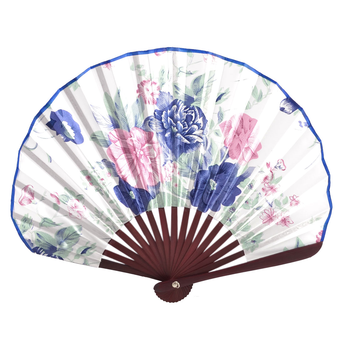 Lady Plastic Frame Red Blue Tradition Foldable Hand Fan + Metal Loop