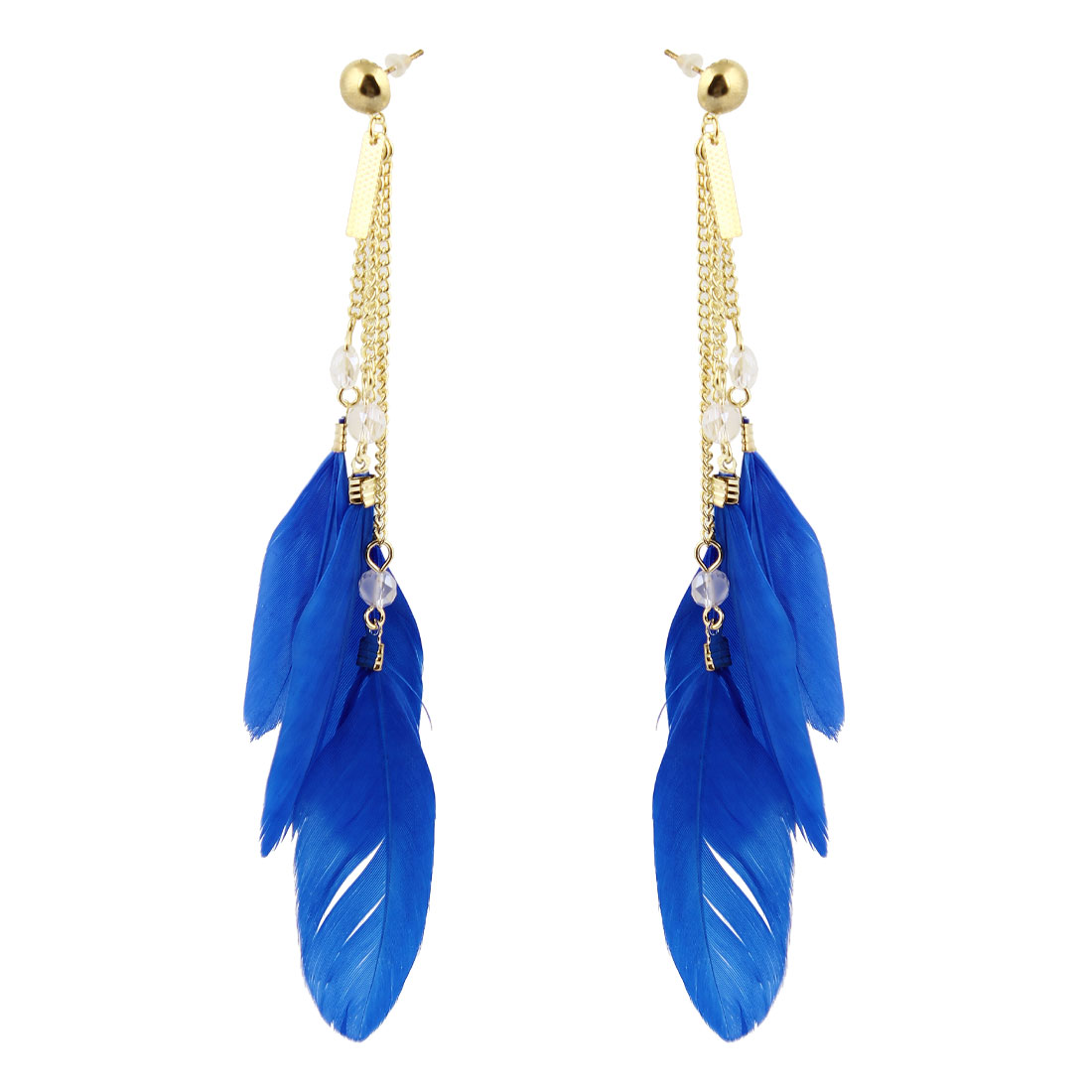 Pair Chain Connect Blue Feather Pendant Dangling Earring Eardrop for Women