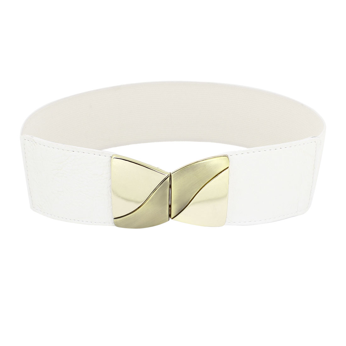 Interlocking Buckle Metal Bowknot Decor Waist Belt White for Lady