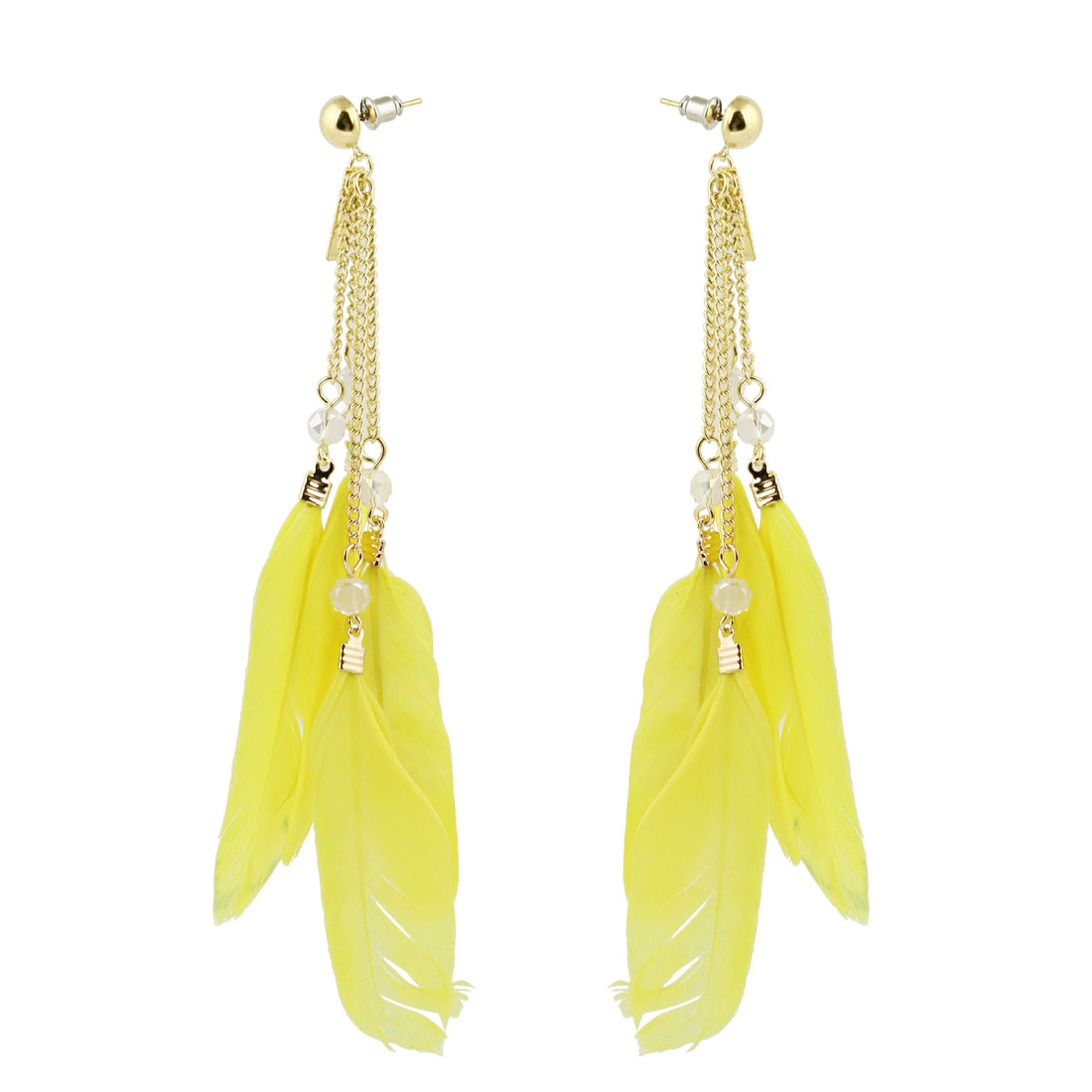 Pair Chain Connect Yellow Feather Pendant Dangling Earring Eardrop for Women