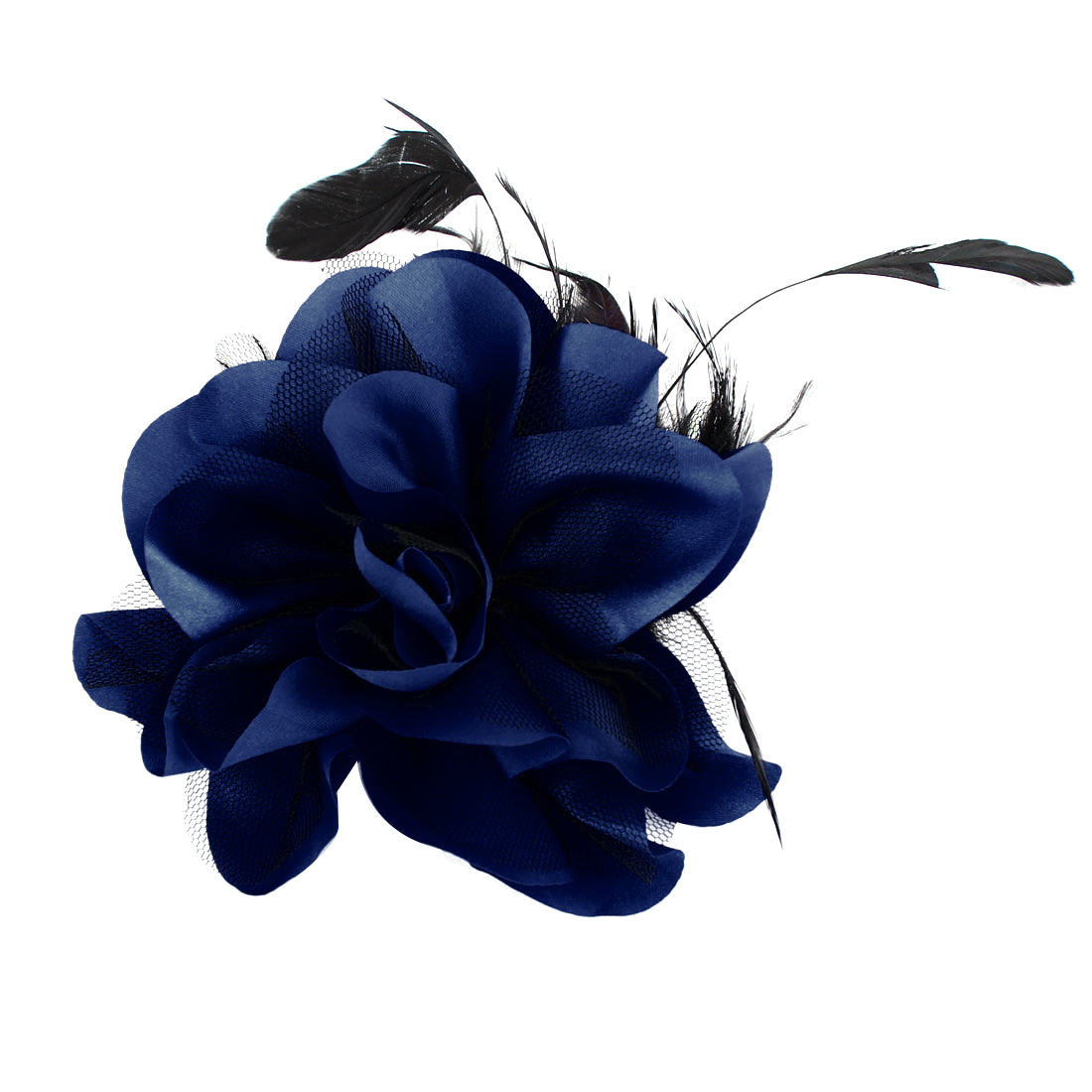 Mesh Flower Feather Design Hairclip Brooch Black Dark Blue for Lady