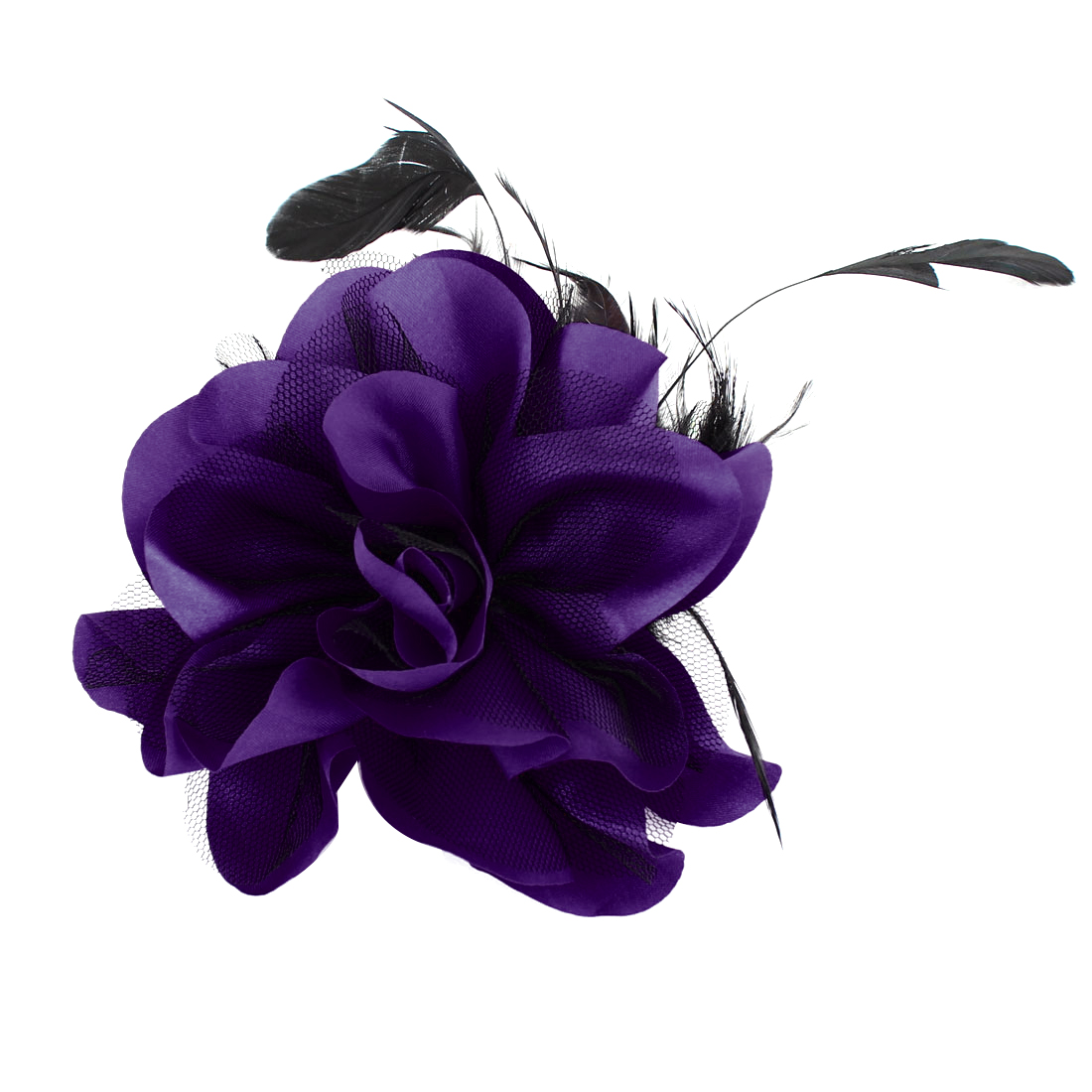 Mesh Flower Feather Design Hairclip Brooch Black Purple for Lady