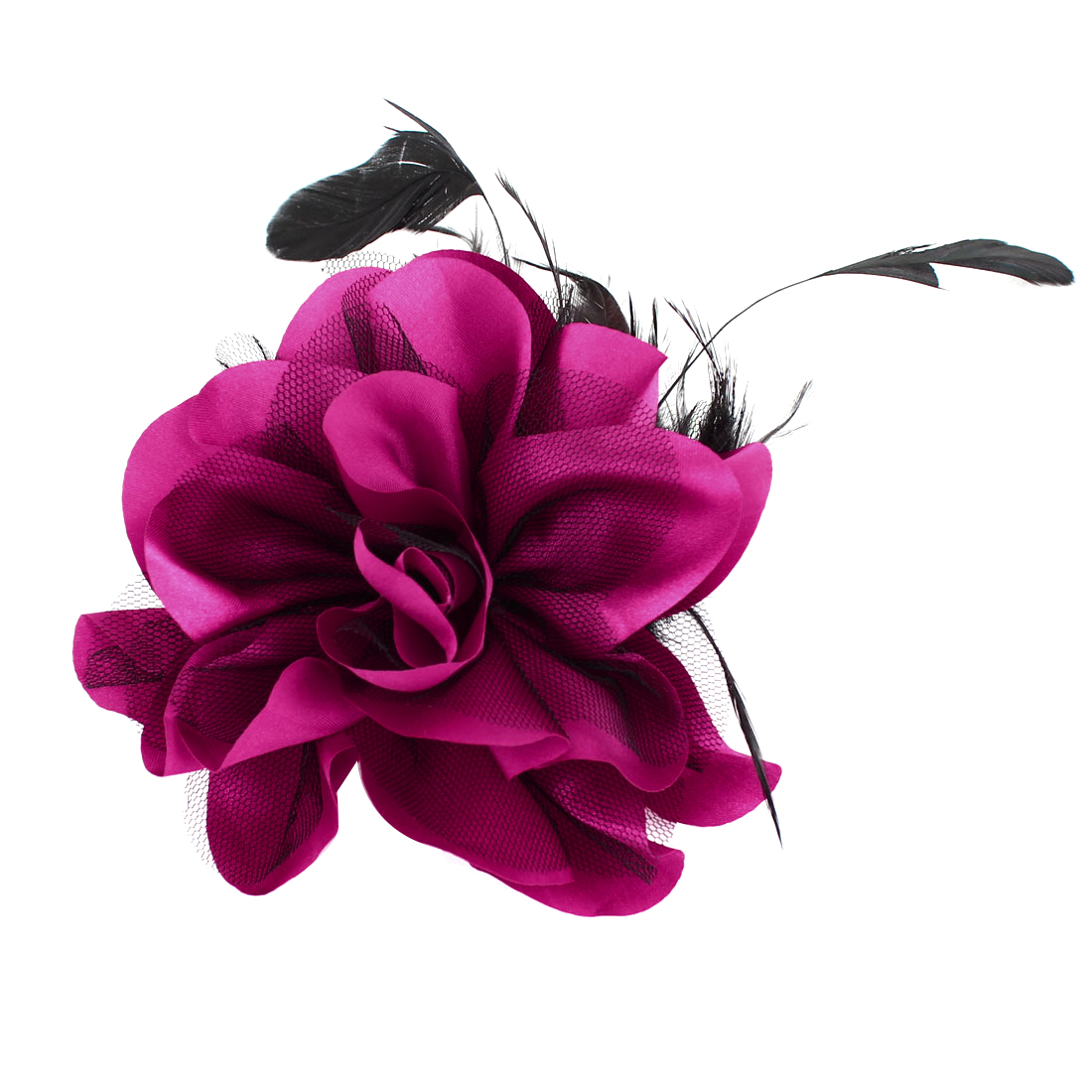 Fuchsia Black Feather Mesh Floral Design Hairclip Corsage for Lady