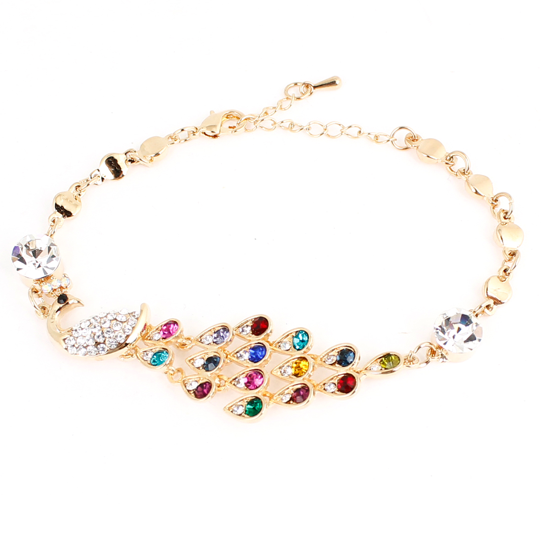 Lady Rhinestone Detailing Peacock Design Adjustable Gold Tone Wrist Bracelet