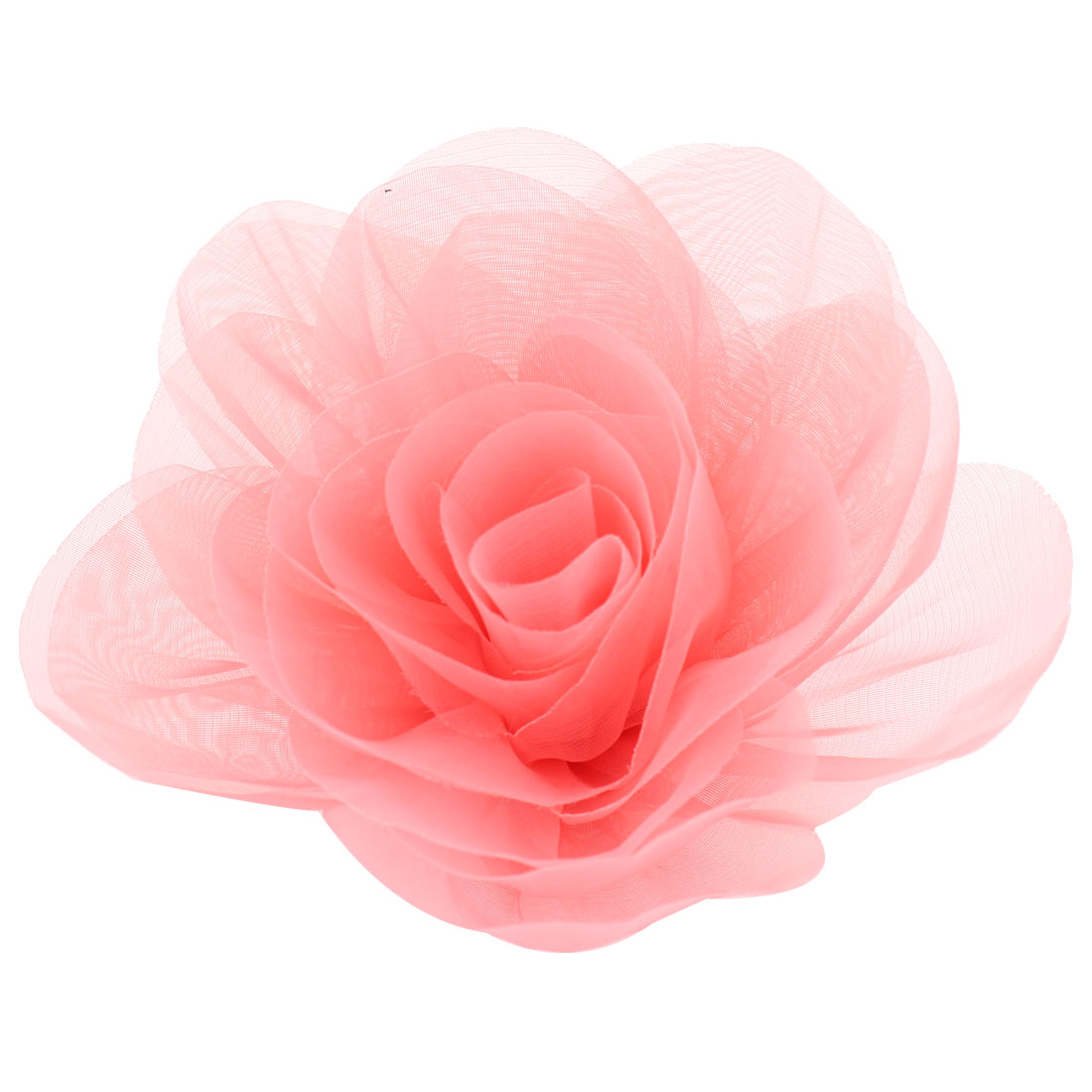 Evening Pink Organza Flower Design Corsage Brooch Pin for Woman