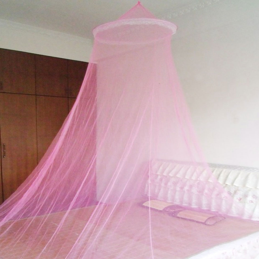 1.5m x 1.8m Bed Pink Nylon Round Top Lace Bedroom Mosquito Net
