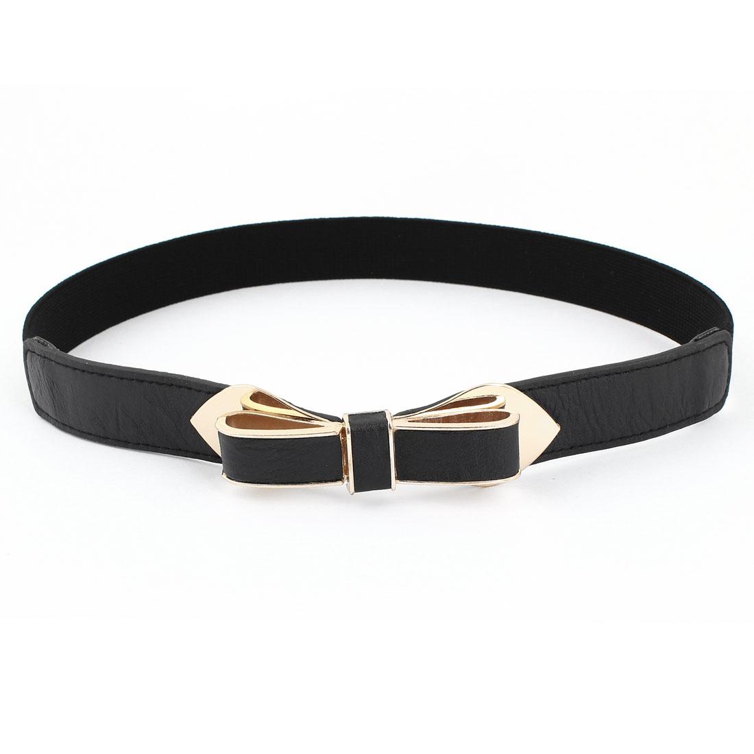 Women Bowknot Decor Interlocking Buckle Waist Cinch Belt Black 2.5cm Width