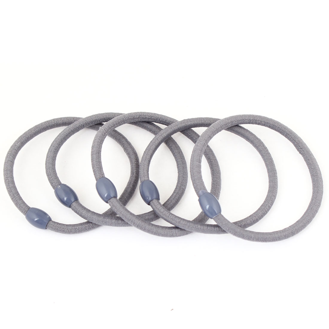 5 Pcs Elastic Gray Ellipse Bead Ponytail Holder Hair Band