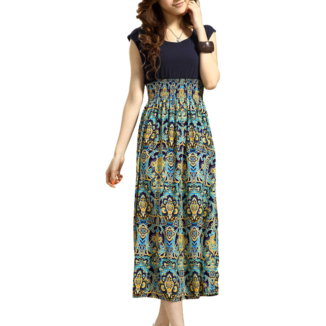Women Charming Pullover Round Neck Maxi Dress Navy Blue Yellow XS
