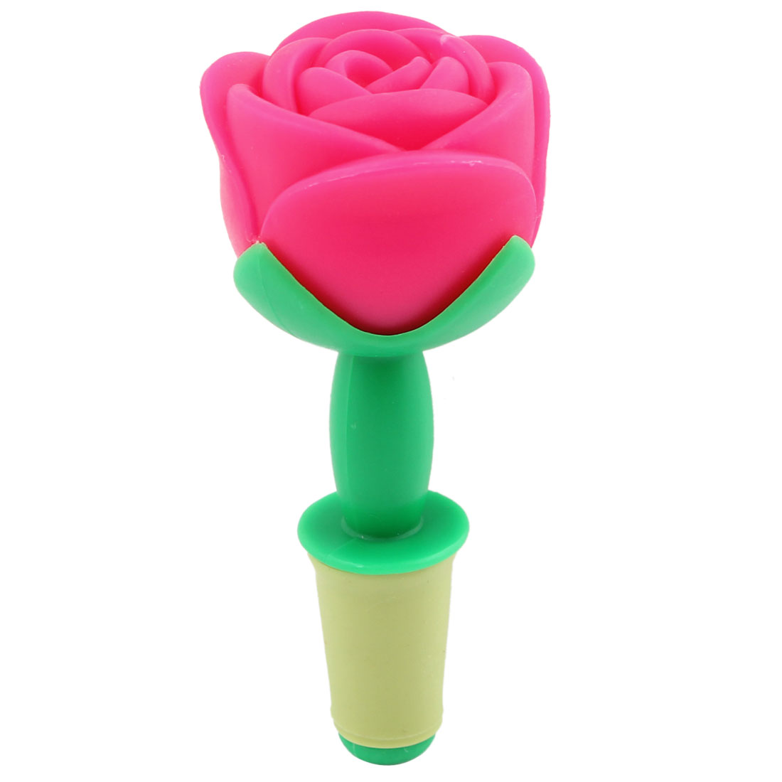 Fuchsia Plastic Rose Design Liquor Wine Bottle Seal Stopper
