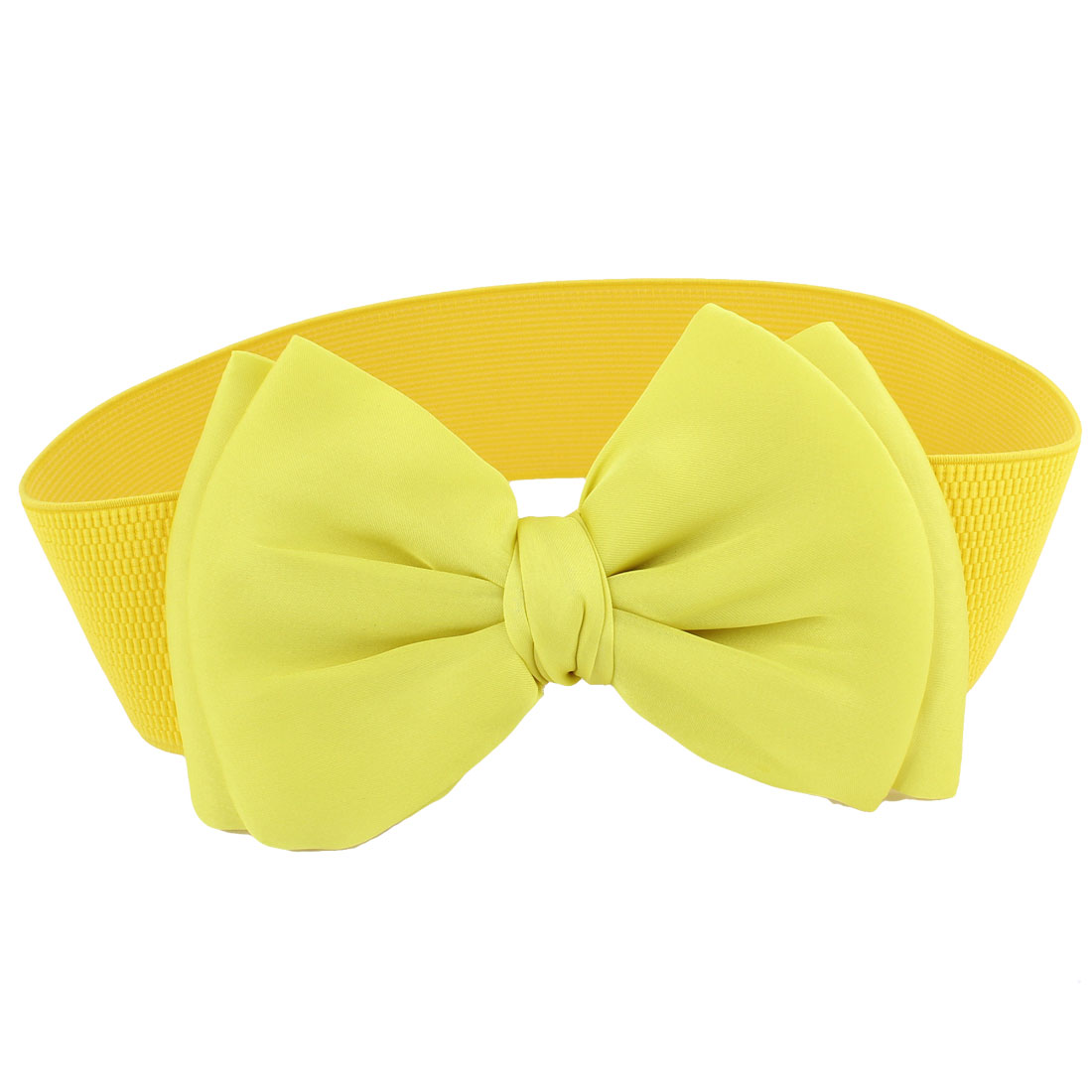 Women Bowknot Detailing Press Button Buckle Stretchy Waistbelt Band Yellow