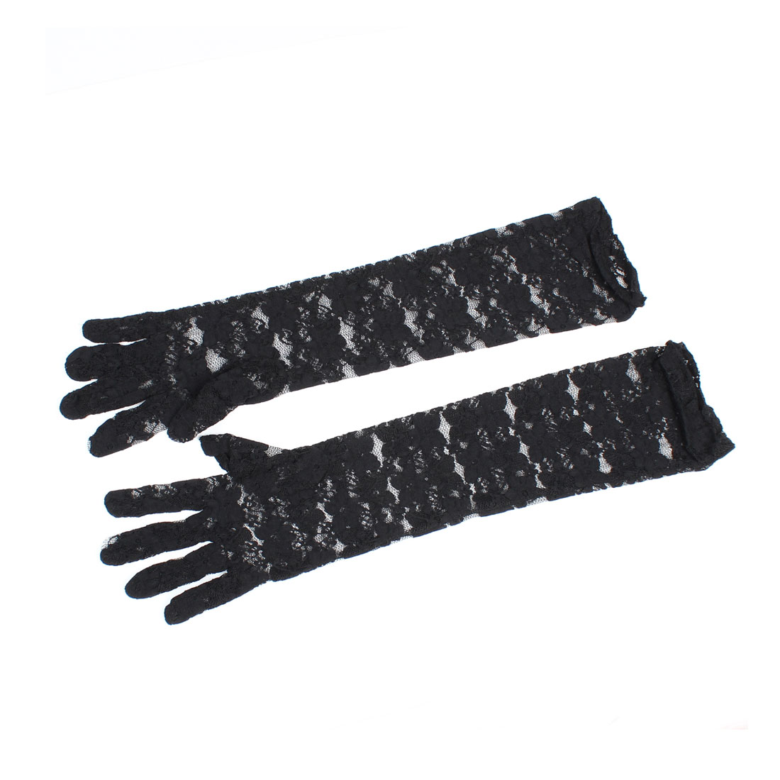 Pair Wedding Fullfinger Arm Warmer Opera Length Lace Gloves Black for Lady
