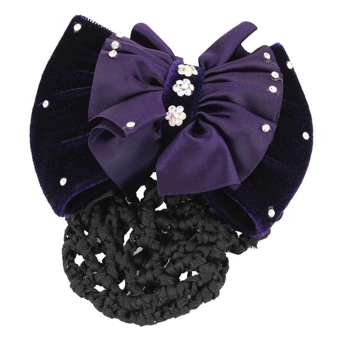 Dark Purple Polyester Bowknot Barrette Hair Clip w Black Nylon Snood Net