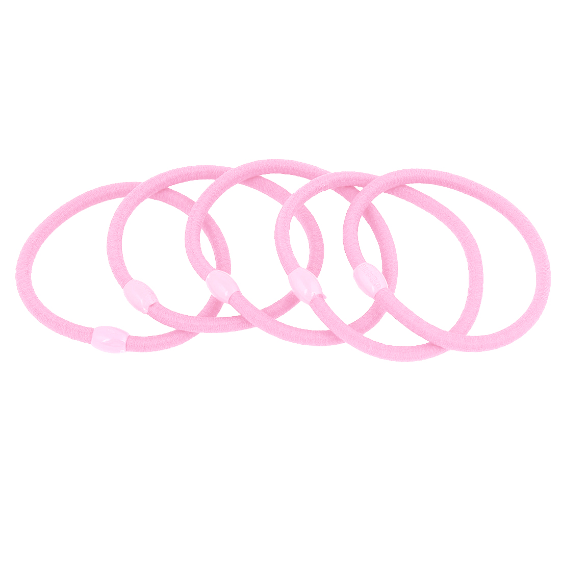 5 Pcs Pink Oval Beads Ponytail Holders Stretchy Hair Tie