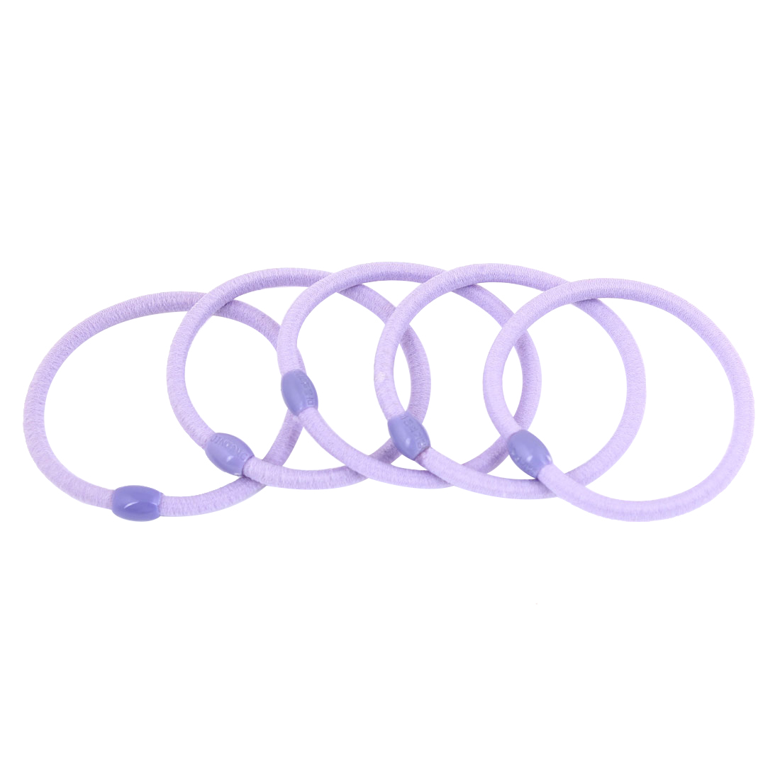 5 Pcs Light Purple Oval Beads Ponytail Holders Stretchy Hair Tie