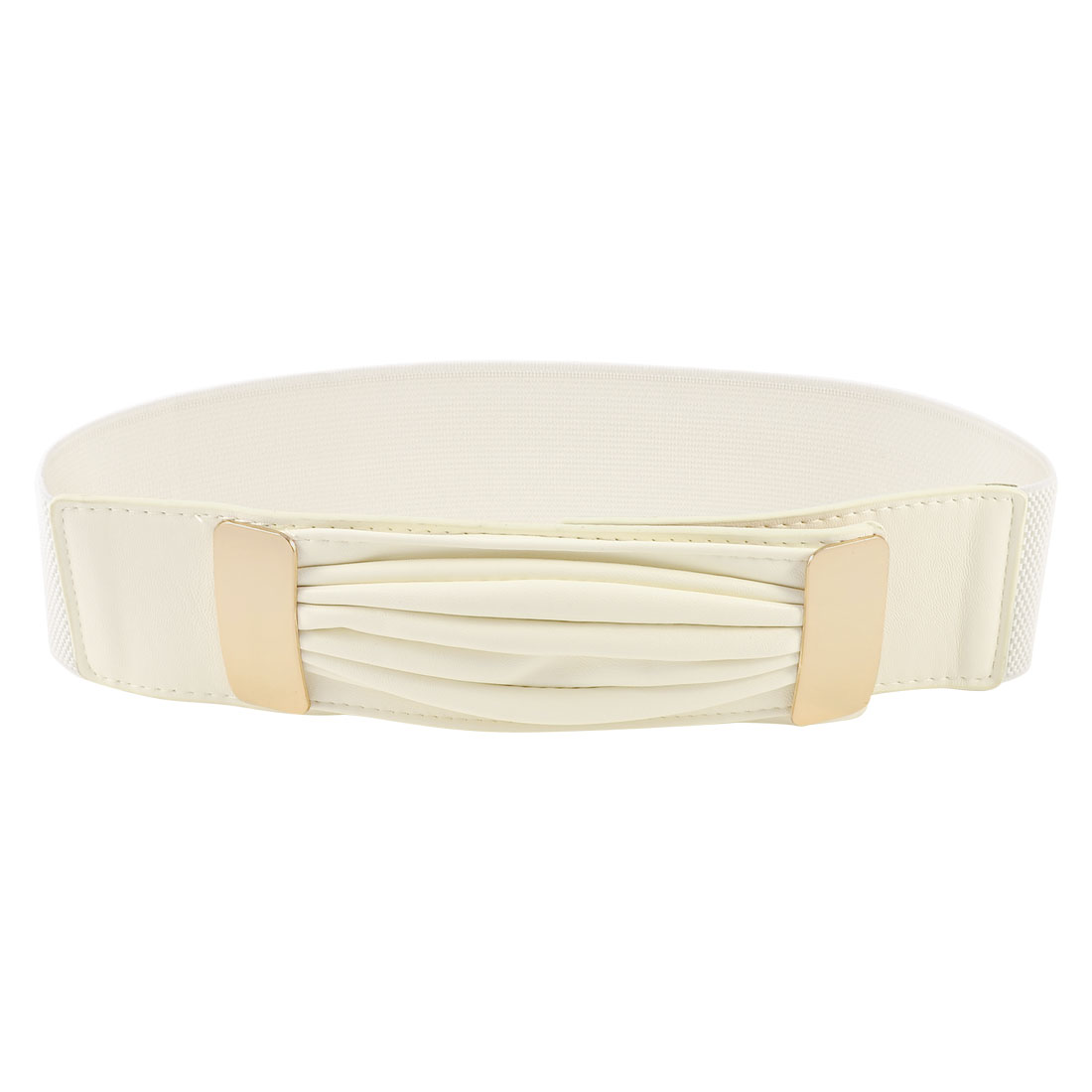 Metal Hoop Buckle 6cm Width Stretchy Waist Cinch Band Belt White for Woman