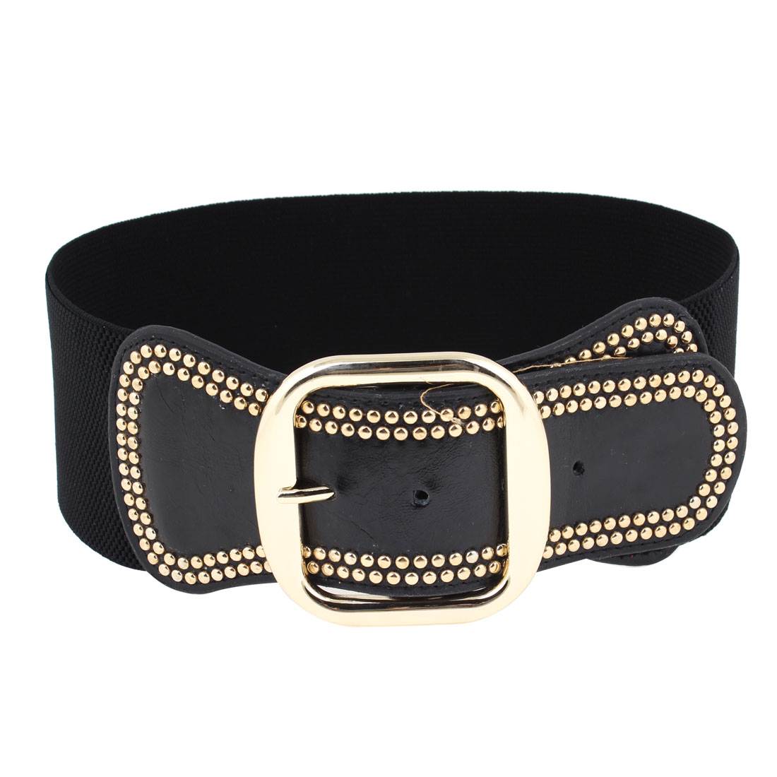 Lady Black Stretchy Textured Band Single Pin Buckle Cinch Belt